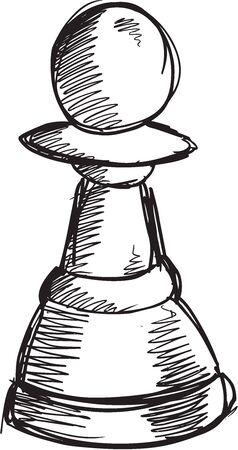 art piece: Doodle Sketch Chess Pawn Vector Illustration Art