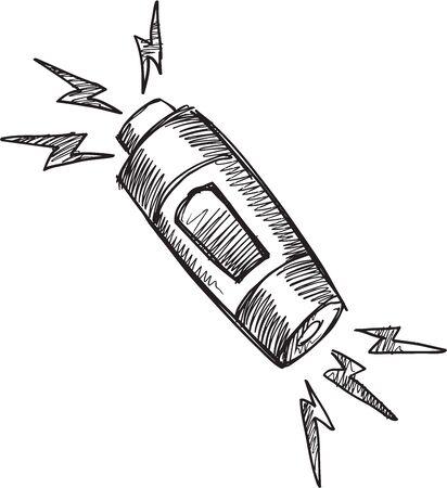 Doodle Sketch Battery Vector Illustration Art Ilustrace