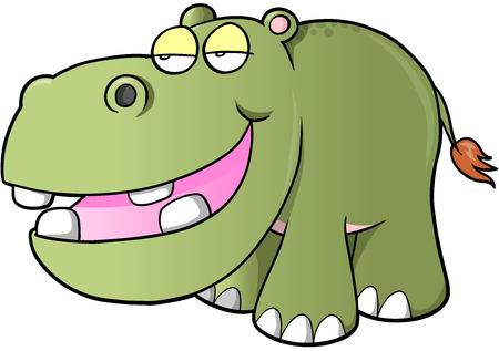 Lazy hippopotamus Vector Illustration Art Ilustracja