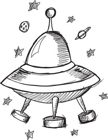 platillo volador: Ilustración del bosquejo del Doodle UFO Flying Saucer vectoriales