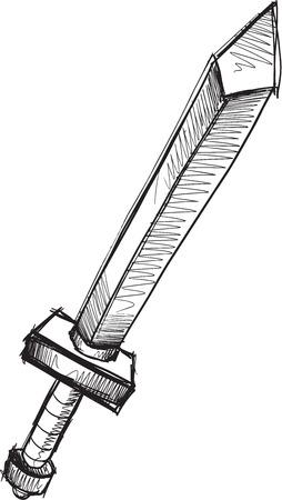 blade: Doodle Sketch Sword Vector Illustration Art Illustration