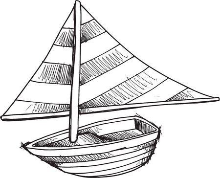 barca a vela: Doodle Sketch Barca a vela illustrazione vettoriale arte