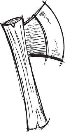 Doodle Sketch Ax Vector Illustration Art Illusztráció