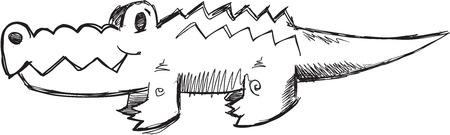Doodle Sketch Alligator Vector Illustration Art Çizim