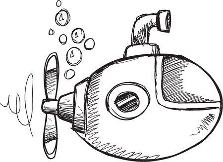 Doodle Sketch Submarine Vector Illustration Art