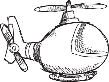 Doodle Sketch Helicopter Vector Illustration Art Illusztráció