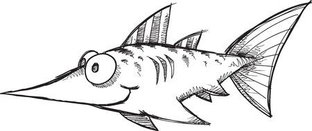 pez espada: Ilustraci�n del bosquejo del Doodle Swordfish vectoriales Vectores