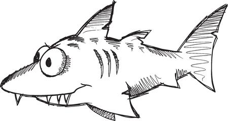 Doodle Sketch Shark Vector Illustration Art