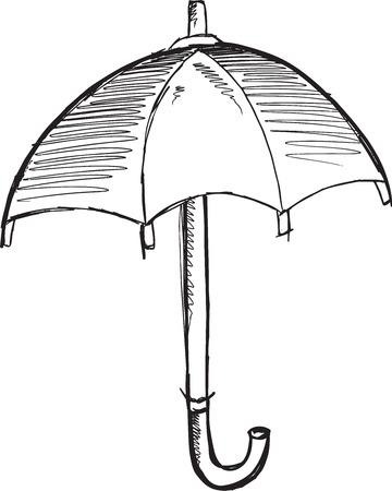 Doodle Sketch Umbrella Vector Illustration Art Ilustração