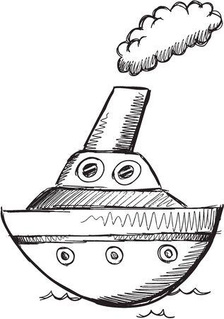 Doodle Sketch Big Boat Vector Illustratie Art