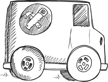 hauling: Doodle Sketch Truck Vector Illustration Art