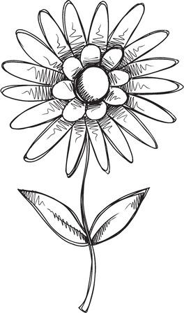 Doodle Sketch Flower Vector illustration Art Иллюстрация