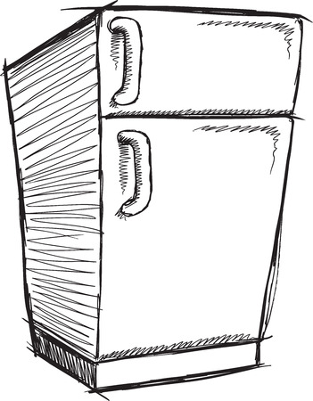 cold storage: Doodle Sketch Refrigerator Vector Illustration Art