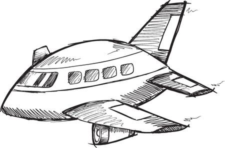Jumbo Jet Doodle Sketch Vector Illustration Art
