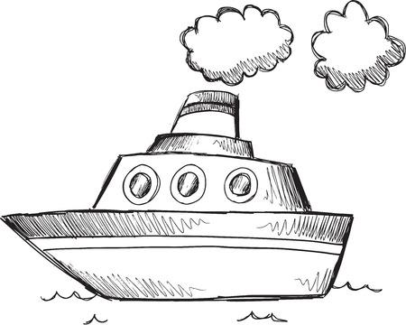 Doodle Sketch Big Boat Vector Illustration Art