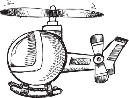 helicopter rescue: Doodle Sketch Helicopter Vector Illustration Art Illustration
