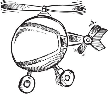 Doodle Sketch Helicopter Vector Illustration Art Çizim