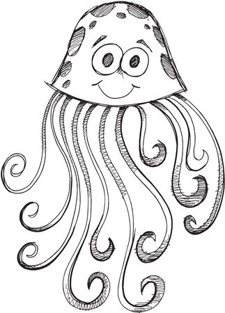 jelly fish: Doodle Sketch Jelly Fish Vector Illustration Art