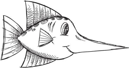 Schets van de Krabbel Fish Vector Illustratie kunst