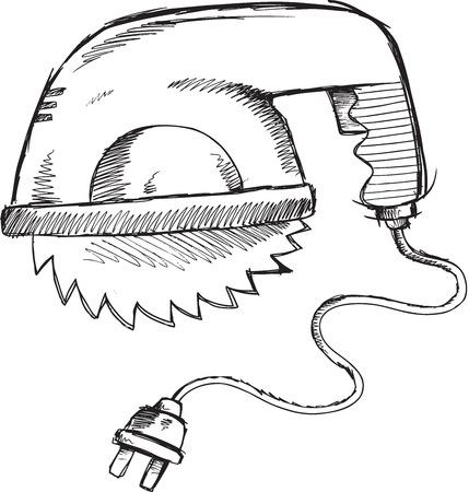 Doodle Sketch Power Saw Vector Illustration Art