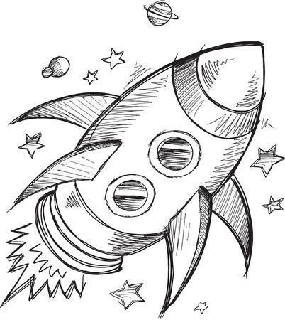 sketch: Doodle Sketch Rocket Outer space Vector
