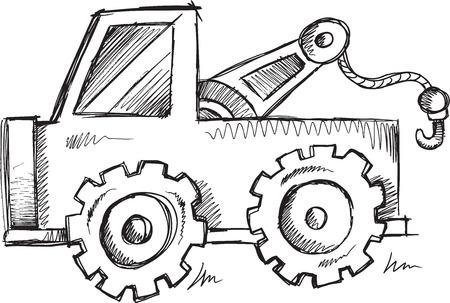 Doodle Sketch Truck Vector Illustration Art