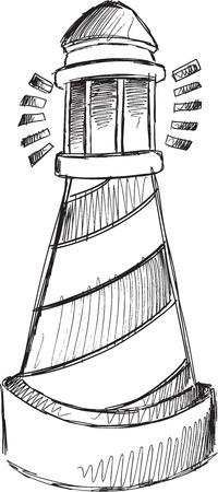 Doodle Sketch Light House Vector Illustration Art