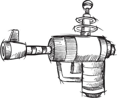 Doodle Sketch Gun Vector Illustration Art Illusztráció