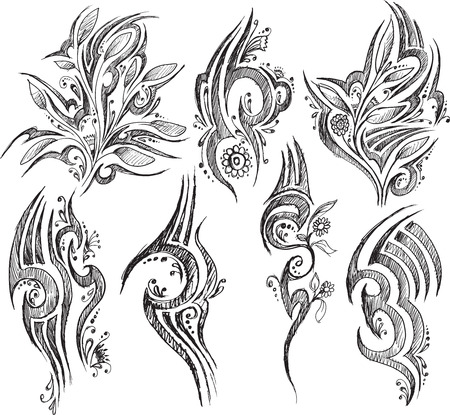 Doodle Tattoo symbolen geïsoleerd op een witte achtergrond Stock Illustratie
