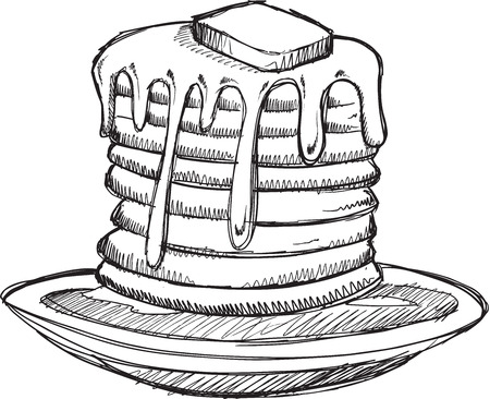 jarabe: Ilustración del bosquejo del Doodle Pancakes vectoriales Vectores