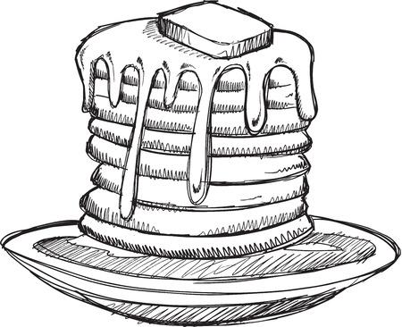 Sketch Doodle Pannenkoeken Vector Illustratie Art