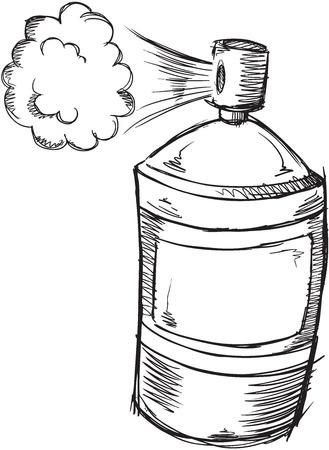 spray can: Doodle Spray Can Vector Illustration Art