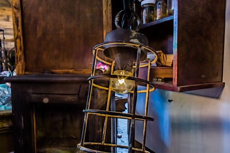 edison: Antique Lamps with Edison Light Bulbs while turned on. Stock Photo