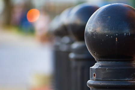 Bollards with round tops in a park