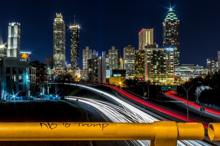 atl: No to Trump with view of Atlanta,  GA Stock Photo