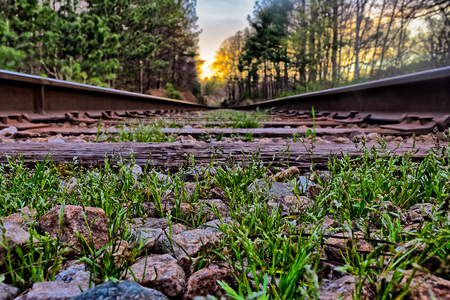 Ground view of old rail road  tracks Stock Photo