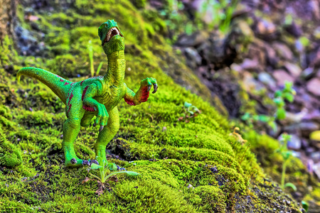 forced perspective: Velociraptor walking on old moss with small  shrub