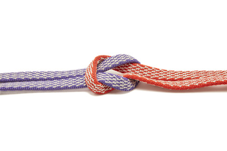 Two Ropes, Purple and Red Tied in a Knot Loop