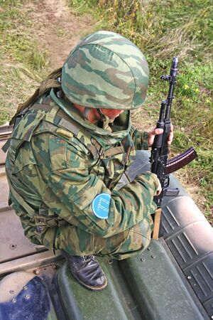 armored car: Russian soldier on the armored car