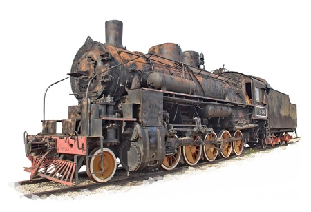 old train: Isolated rusty steam engine locomotive