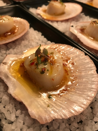 grilled buttered scallops Stock Photo