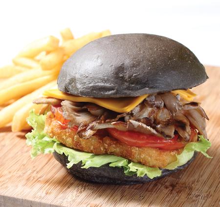 vegetarian hamburger: Charcoal Mushroom Burger Stock Photo