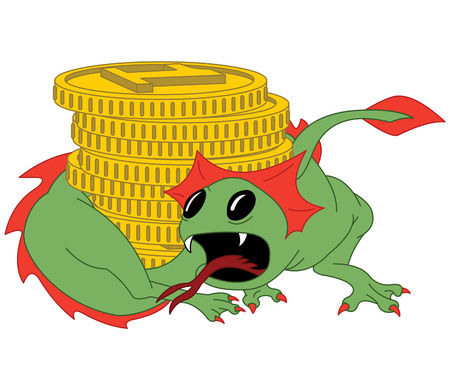 Green dragon guards gold coins