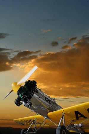 Single engine training aircraft at dawn Stock Photo
