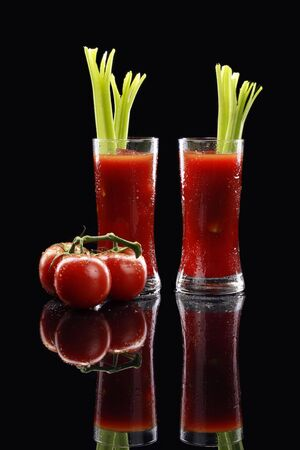A couple of Bloody Mary on black Stock Photo