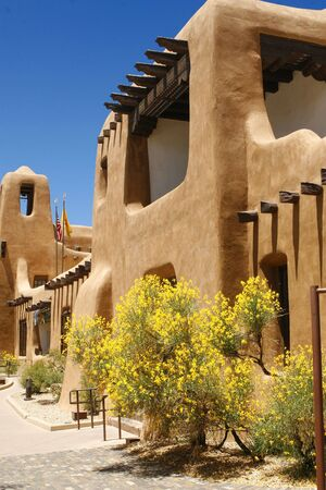 adobe pueblo: Typical adobe portal in Santa Fe New Mexico Stock Photo