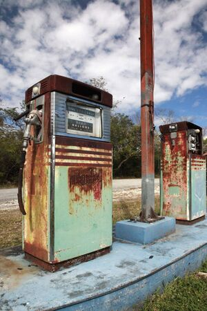 era: Icon of an era about to be extinct - Vintage gas station 1 Stock Photo