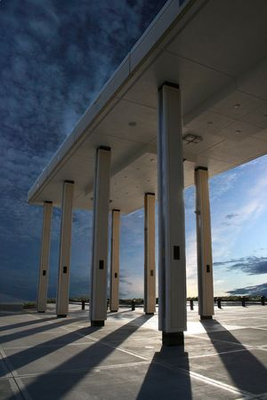 metal structure: Columns and sunset urban escape Stock Photo
