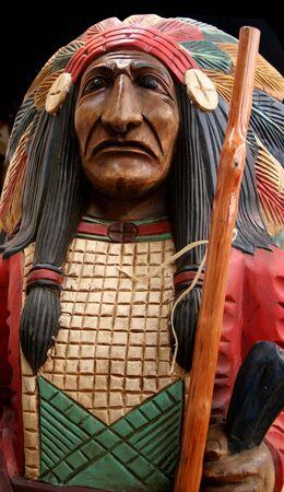 Big chief wood carving 1 Banco de Imagens