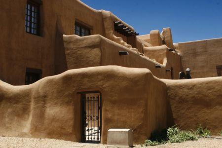 Pueblo style adobe walls